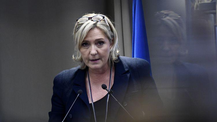 La présidente du Front national et candidate à la présidentielle, Marine Le Pen, le 9 décembre 2016, lors d'un meeting à Paris. (MARTIN BUREAU / AFP)