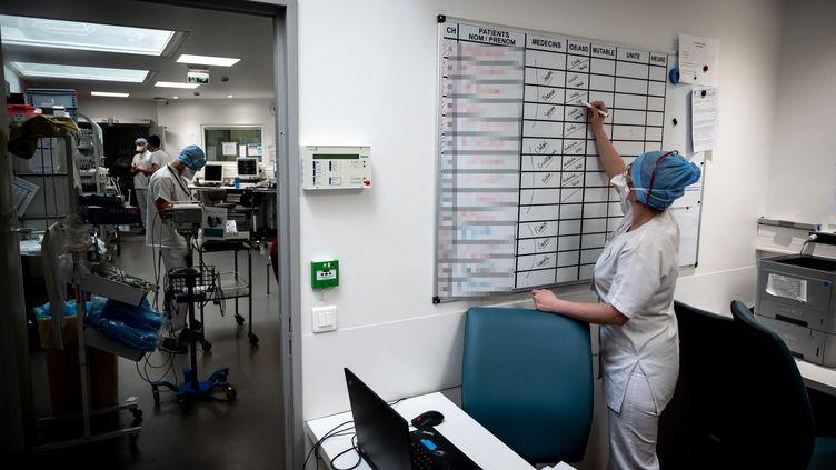 Une soignantedans l'unité de soins intensifs consacrée au Covid-19, le 7 avril 2021 à PIerre-Benite (Rhône). Photo d'illustration. (JEAN-PHILIPPE KSIAZEK / AFP)