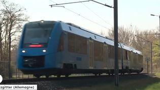 Un train à hydrogène à Salzgitter, en Allemagne. (FRANCEINFO)