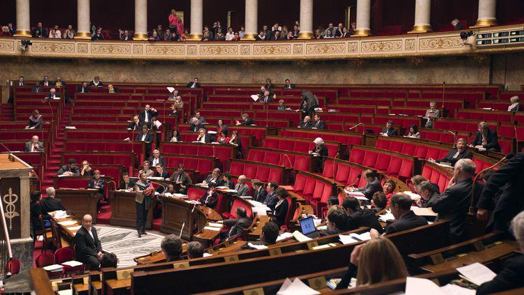 La ministre de la Justice, Christiane Taubira, s'exprime pendant le débat sur leprojet de loi ouvrant le mariage et l'adoption aux couples homosexuels, le 4 février 2013 à l'Assemblée nationale. Le débat s'est achevé le 9 février. (JOEL SAGET / AFP)