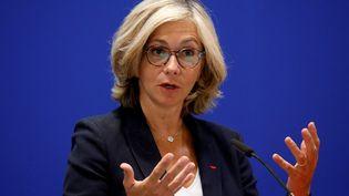 Valérie Pécresse, la présidente de la région Ile-de-France, lors d'une conférence de presse sur le coronavirus à Paris, le 8 mai 2020. (CHARLES PLATIAU / AFP)