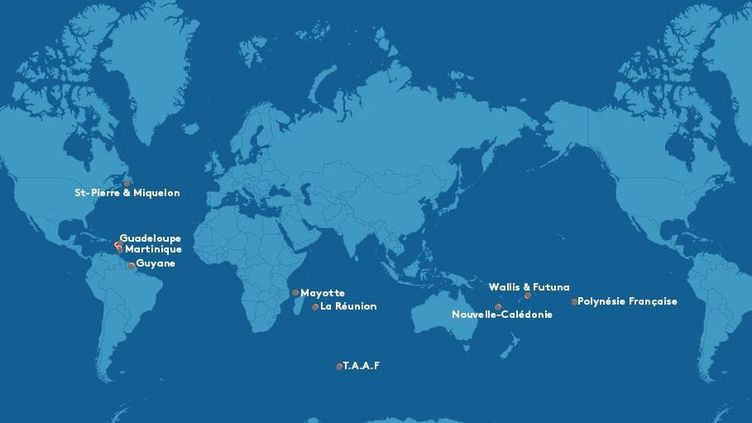 Les outre-mer, qu'on appelait autrefois les Dom-Tom, sont douzeterritoires répartis danstrois océans (Atlantique, Indien, Pacifique) (LA1ERE)
