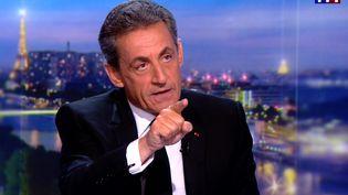 Nicolas Sarkozy estl'invité du JT de 20 heures de TF1, le 22 mars 2018. (TF1 / AFP)