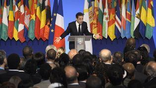 Nicolas Sarkozy, lors de son discours sur la Francophonie, à l'Elysée, le 20/03/2010 (AFP/Olivier Laban-Mattei)