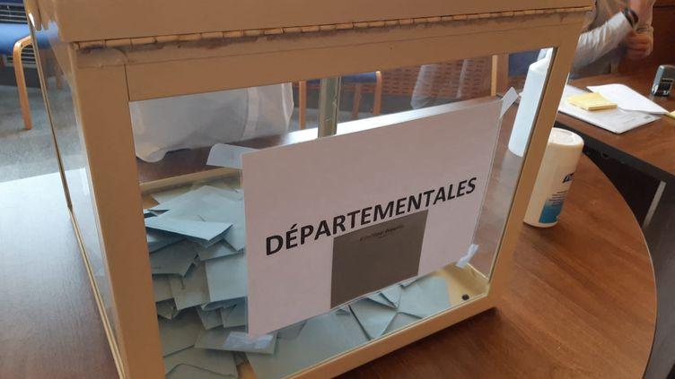 Un bureau de vote en Ardèche, le 20 juin 2021. (FLORENCE GOTSCHAUX / FRANCE-BLEU DRÔME-ARDÈCHE)