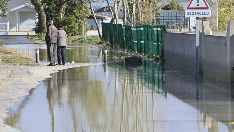 Une rue inondée des Moutiers-en-Retz (Loire-Atlantique) après le passage de la tempête Xynhia le 28 février 2010. (MAXPPP)