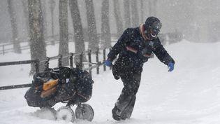 Le froid n'a pas arrêté cette factrice new-yorkaise, qui a traîné son chariot de courrier dans les rues enneigées de Brooklyn. (ANGELA WEISS / AFP)