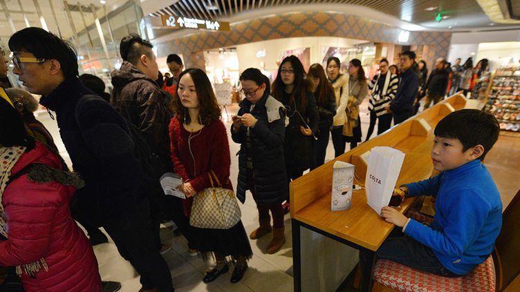 Filde d'attente pour voir l'exposition Monet dans un centre commercial à Shanghai  (PETER PARKS / AFP )