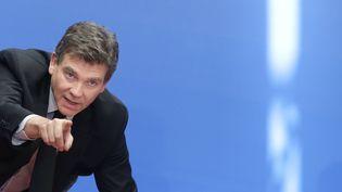 """Le ministre de l'Economie, Arnaud Montebourg, assiste à une conférence sur la """"nouvelle France industrielle"""" à l'Elysée, le 7 mai 2014. (CHRISTIAN HARTMANN / AFP)"""