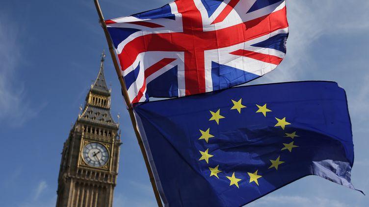 Les drapeaux européens et britannique face au Parlement à Londres (Grande-Bretagne). (DANIEL LEAL-OLIVAS / AFP)