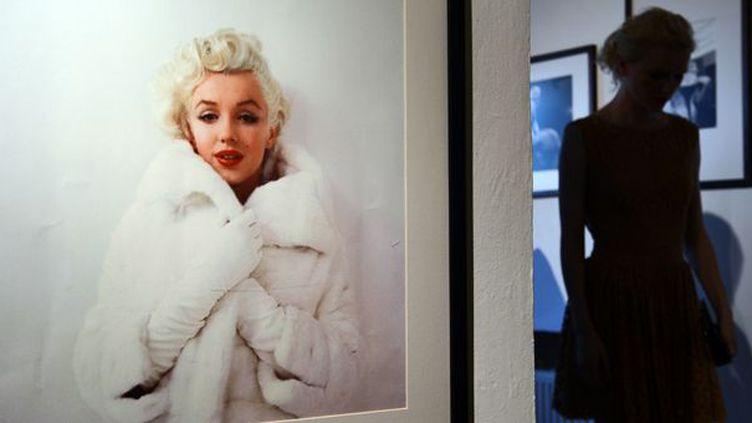 Dans l'ombre, une visiteuse à la découverte des photos de Marilyn Monroe par Milton Greene, à Varsovie (6/8/2012)  (Janek Skarzynski / AFP)