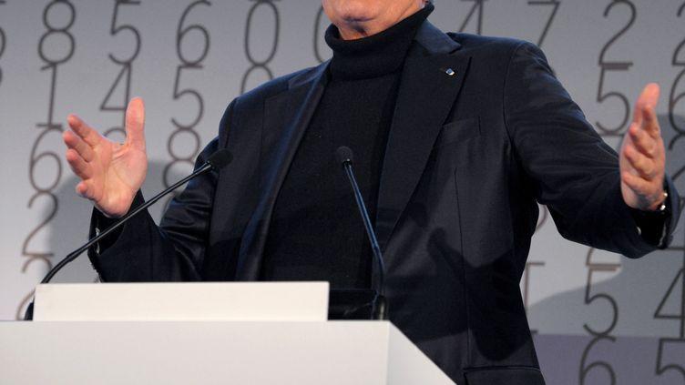 Maurice Lévy, PDG de Publicis, présente les résultats de l'année 2011 de son groupe, n°3 mondial. (ERIC PIERMONT / AFP)