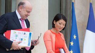 Fleur Pellerin, avec le ministre des relations avec le Parlement, Jean-Marie Le Guen,à la sortie du Conseil des ministres ce 8 juillet.  (WITT/SIPA)
