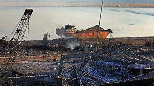 Les ruines du port de Beyrouth (Liban), le 5 août 2020. (ANWAR AMRO / AFP)