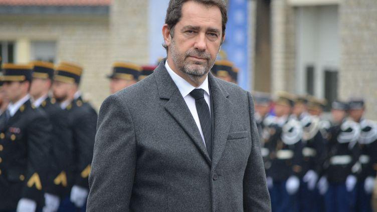 Christophe Castaner, lors d'une visite au centre d'entrainenement de la gendarmerie de Saint-Astier en Dordogne, le 15 mars 2019. (ANTOINE BALANDRA / FRANCE-BLEU PÉRIGORD)