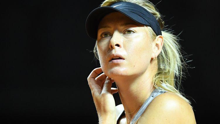 La joueuse de tennis russeMaria Sharapova à l'entraînement au premier jour du tournoi de Stuttgart, le 26avril 2017. (BERND WEISSBROD / DPA)
