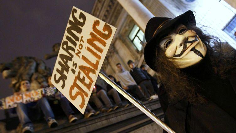 Un manifestant portant le masque du personnageGuy Fawkes, symbole des Anonymous, à Bruxelles (Belgique), le 28 janvier 2012. (YVES HERMAN / REUTERS)