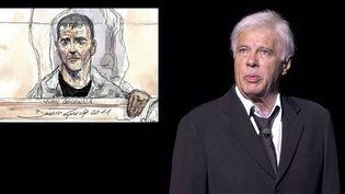 Guy Bedos et un dessin d'Yvan Colonna réalisé au tribunal de Paris le 2 mai 2011  (SYSPEO/SIPA & BENOIT PEYRUCQ / AFP)