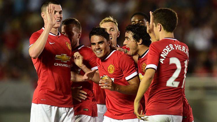 La joie des joueurs de Manchester United après leur carton contre Los Angeles Galaxy