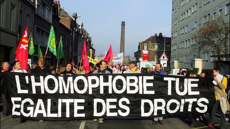 Manifestation contre l'homophobie à Tourcoing, le 28 janvier 2016. (FRANCK CRUSIAUX / GAMMA-RAPHO)