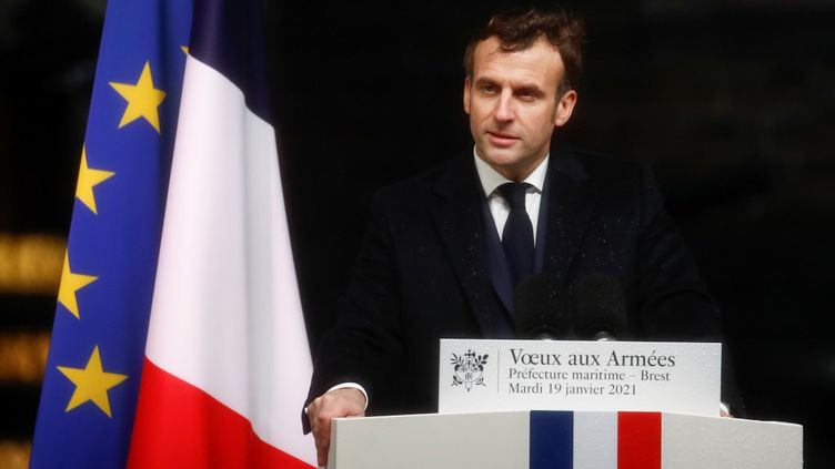 Emmanuel Macron lors de ses vœux aux armées, le 19 janvier 2021 à Brest (Finistère). (STEPHANE MAHE / AFP)
