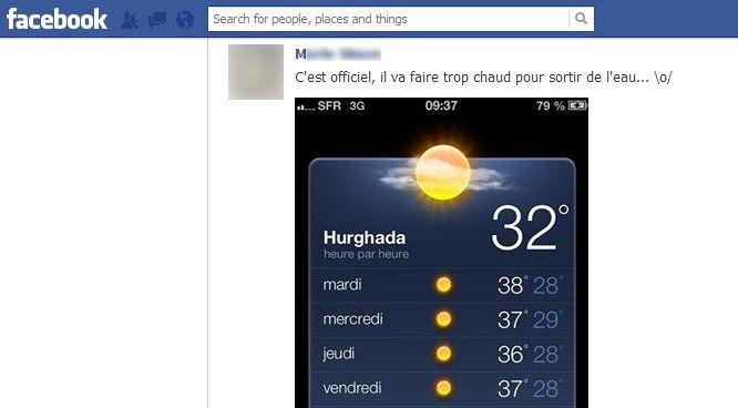 Cet ami Facebook de l'auteur part en vacances à Hurghada, en Egypte. C'est un peu énervant. (FRANCETV INFO)