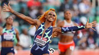 La sprinteuse américaineSha'Carri Richardson, testée positive au cannabis, avait été suspendue un mois avant les Jeux Olympiques. (PATRICK SMITH / GETTY IMAGES NORTH AMERICA)