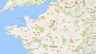 Capture d'écran d'une carte Google pointant la ville de Villepinte (Seine-Saint-Denis) où une explosion accidentelle a blessé au moins 19 personnes, le 1er avril 2017. (GOOGLE MAPS)