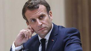 Le président français Emmanuel Macron, le 30 juin 2020, à Nouakchott (Mauritanie). (LUDOVIC MARIN / AFP)