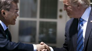 Le président sud-coréen, Moon Jae-in, et le président américain, Donald Trump, le 30 juin 2017. (BRENDAN SMIALOWSKI / AFP)