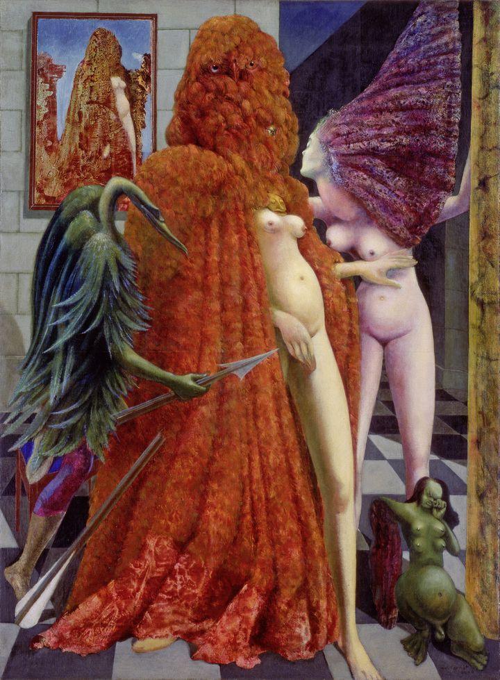 """Max Ernst, """"L'Habillement de l'épousée"""", 1940. Huile sur toile, 129,6 × 96,3 cm. Peggy Guggenheim Collection, Venise (Solomon R. Guggenheim Foundation, New York). (2013, PROLITTERIS, ZURICH / PHOTO PEGGY GUGGENHEIM)"""