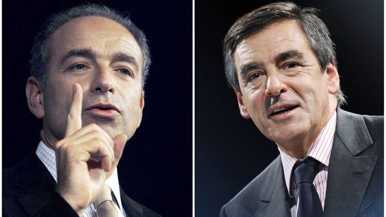 Candidats à la présidence de l'UMP, Jean-François Copé et François Fillon vont débattre sur France 2, le 25 octobre 2012. (NICOLAS TUCAT / XAVIER LEOTY / AFP)