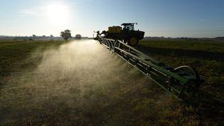 Un agriculteur pulvérise dudésherbantsur son champ, le 16 septembre 2019. (JEAN-FRANCOIS MONIER / AFP)