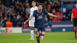 Lionel Messi a inscrit son premier but avec Paris face àManchester City, le 28 septembre 2021, au Parc des Princes. (FRANCO ARLAND / HANS LUCAS)
