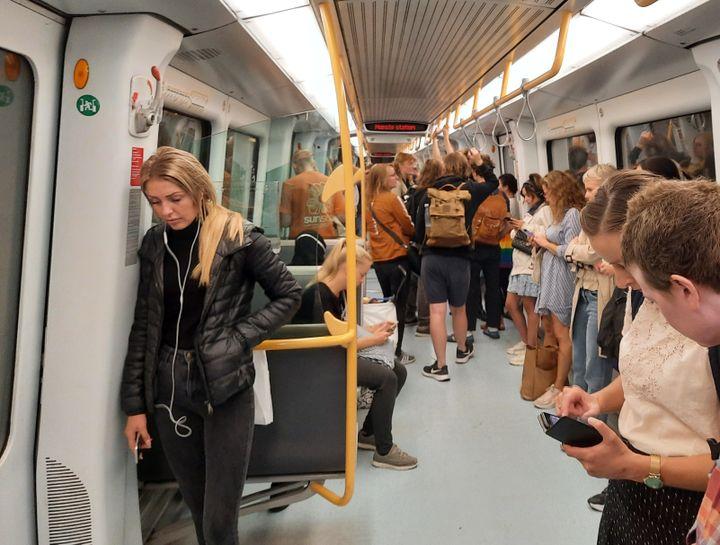 Le masque n'est pas obligatoire dans le métro à Copenhague, au Danemark, septembre 2021. (AGATHE MAHUET / RADIO FRANCE)