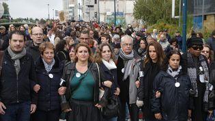 Une marche en hommage à Christine Renon, à Pantin, le 5 octobre 2019. (GEOFFROY VAN DER HASSELT / AFP)
