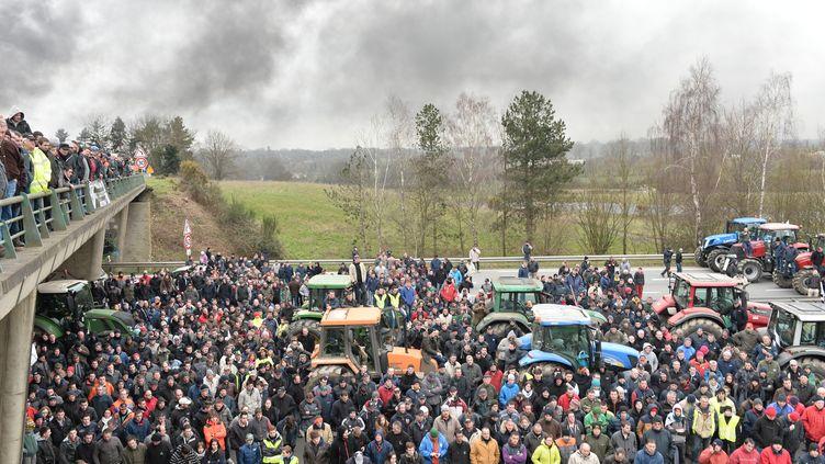 Des agriculteurs participent au blocage de la rocade de Rennes (Ille-et-Vilaine), le 17 février 2016. (JEAN-FRANCOIS MONIER / AFP)
