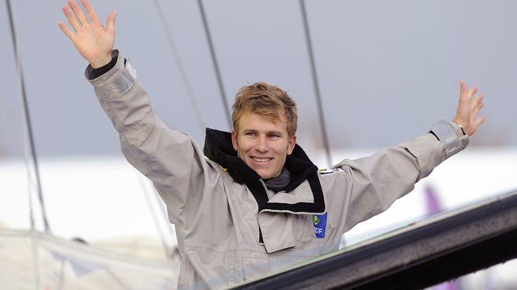 Le navigateur François Gabart lorsdu départ du Vendée Globe aux Sables d'Olonne (Vendée), le 10 novembre 2012. (DAMIEN MEYER / AFP)