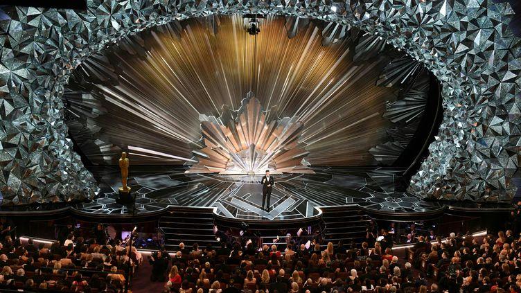 Le comédienJimmy Kimmel, lors de la 90e cérémonie des Oscars, à Hollywood (Californie, Etats-Unis), le 4 mars 2018. (MARK RALSTON / AFP)