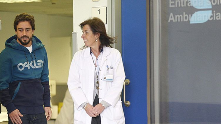 Fernando Alonso à sa sortie de l'hôpital