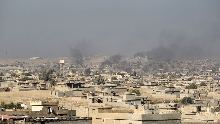 Une photo prise le 6 novembre 2016 montre de la fumée s'élevant d'immeubles, au sud de Mossoul (Irak). (AHMAD AL-RUBAYE / AFP)