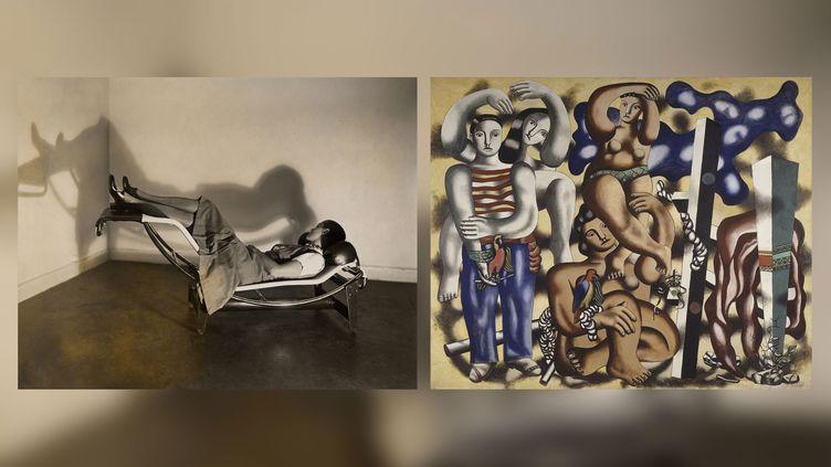"""A gauche, Charlotte Perriand sur la """"Chaise longue basculante, B306"""" (1928-1929), Le Corbusier, P. Jeanneret, C. Perriand, vers 1928 - A droite, Fernand Léger, """"Composition aux deux perroquets"""", 1935-1939 (A gauche © F.L.C. / ADAGP, Paris 2019 © ADAGP, Paris 2019 © AChP - A droite Paris, Centre Pompidou - Musée national d'art moderne - Centre de création industrielle © Adagp, Paris, 2019 © Centre Pompidou, MNAM-CCI, Dist. RMN-Grand Palais / Jacques Faujour)"""