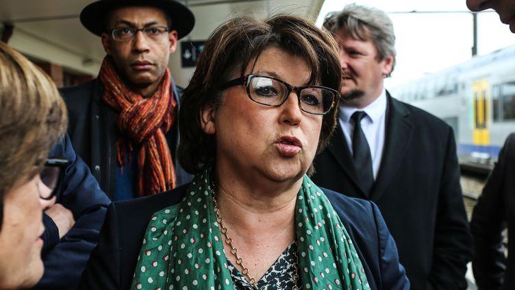 La maire de Lille, Martine Aubry, le 29 mars 2017, en visite à Douai (Nord). (CITIZENSIDE / SADAK SOUICI / CITIZENSIDE / AFP)