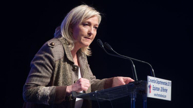 La présidente du FN Marine Le Pen, le 28 février 2015 à Paris. (CHAMUSSY / SIPA)
