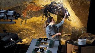 Une artiste reproduit une fresque pariétale de la grotte de Lascaux pour l'exposition itinérante Lascaux 3  (Philippe Roy / Aurimages)