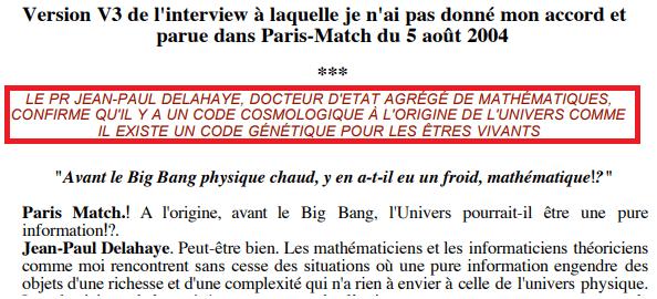 """Sur la """"Version 3"""" du texte, qui a été publiéedans les pages de """"Paris Match"""" un titre indiquant que leJean-Paul Delahaye confirme la thèse des Bogdanoff a été ajouté. (FRANCEINFO)"""