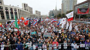Des manifestantsdénoncentl'exclusion des candidats indépendants aux élections locales, le 10 août 2019, à Moscou (Russie). (MAXIM SHEMETOV / REUTERS)