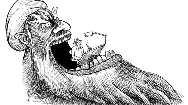 Un dessin de Kianoush Ramezani, qui a fui l'Iran en 2009. (KIANOUSH RAMEZANI)