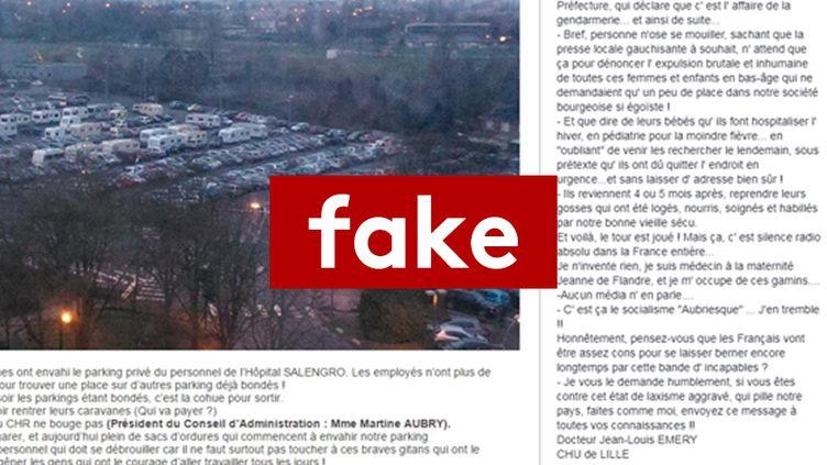 Cette intox, partagéedes milliers de fois sur Facebook, assure que des gens du voyage se sont installés sur le parking du CHU de Lille. (CAPTURE D'ECRAN FACEBOOK / THE DAYS ARE JUST PACKED)