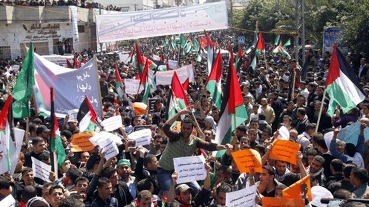 Manifestation à Gaza pour l'unité des Palestiniens (AFP/MOHAMMED ABED)